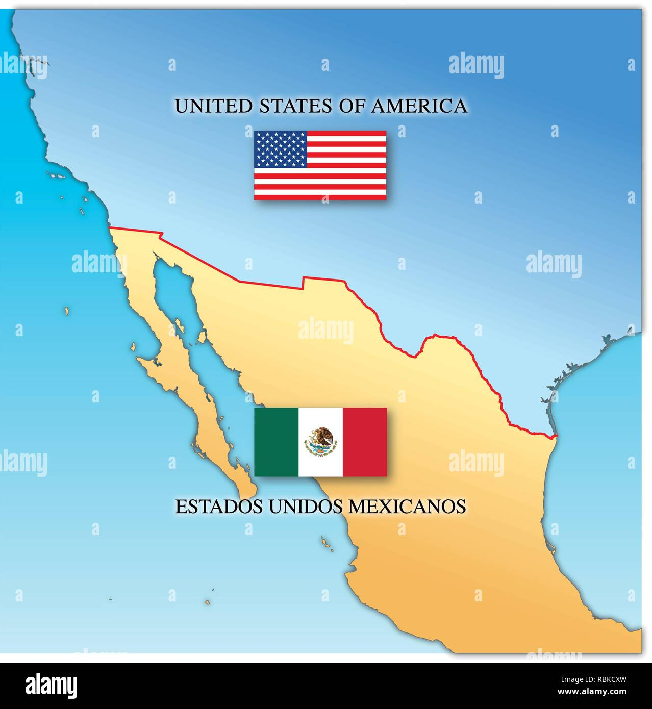 Usa Border Map Mexico Stock Photos & Usa Border Map Mexico ...