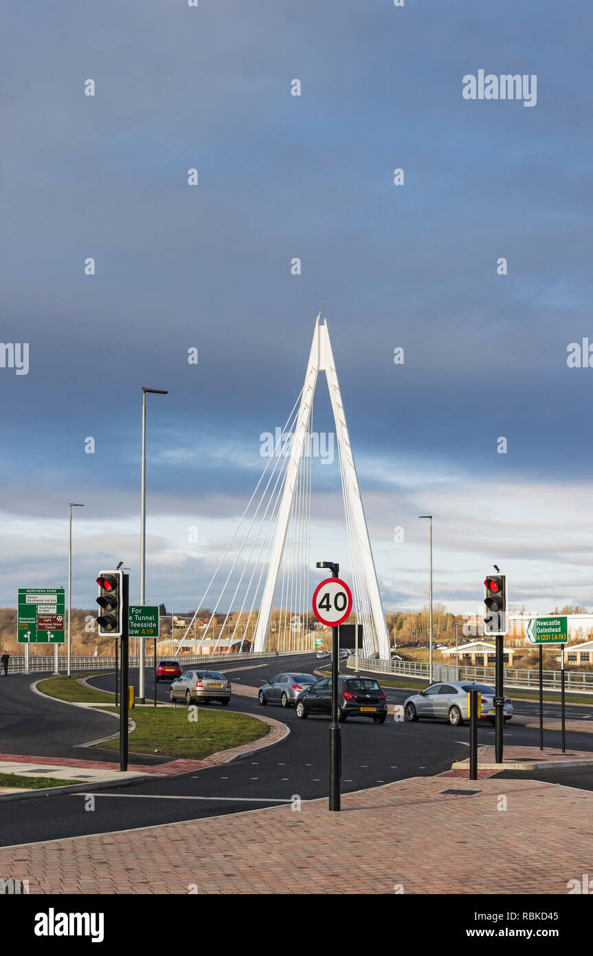Northern Spire Bridge spans the river Wear, opened on 28th April 2018 at a cost of £117.6m. Stock Photo