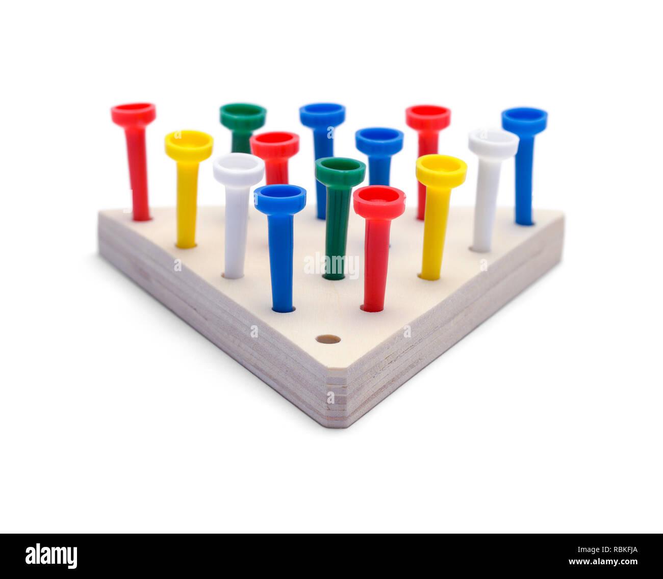 Wood Peg Game Isolated on White Background. - Stock Image