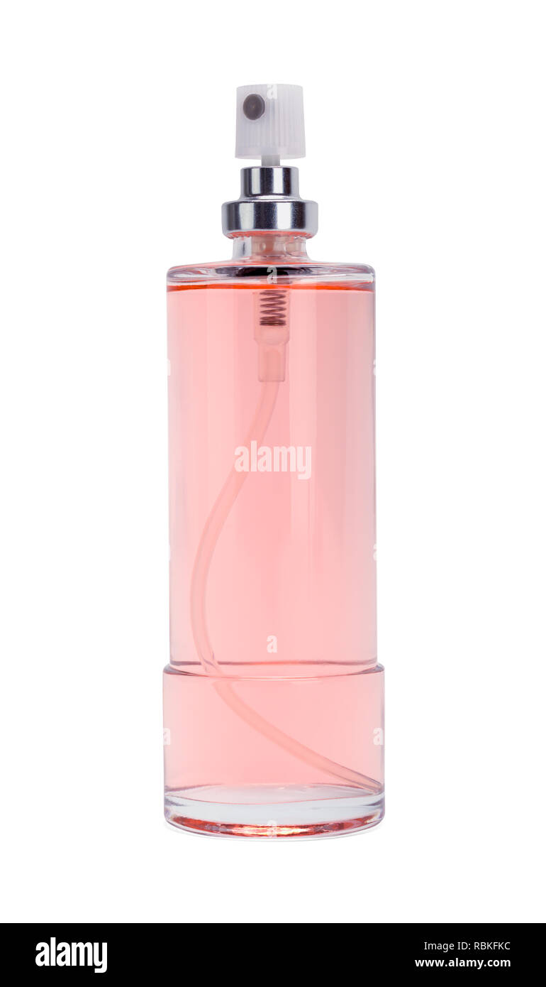 Pink Perfume Spray Bottle Isolated on White Background. - Stock Image