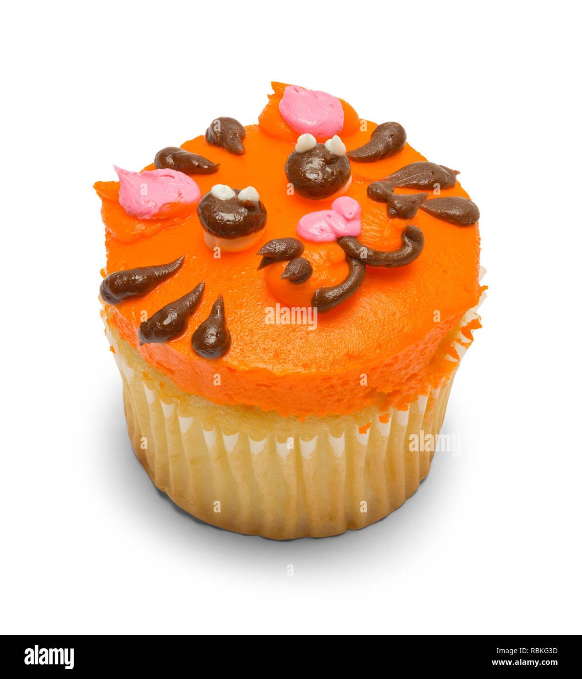 Ornage Tiger Cupcake Isolated on White Background. - Stock Image