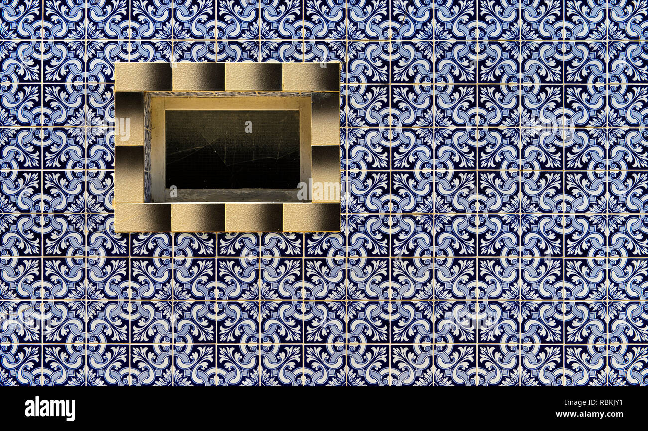 Decorative tiles at a residential building, Santa Luzia, Algarve, Portugal Stock Photo