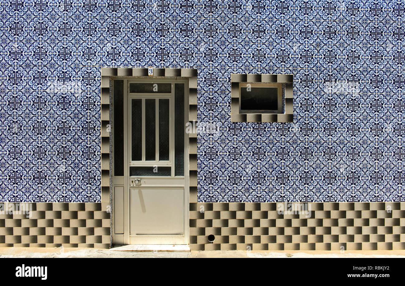 Decorative tiles at a residential building, Santa Luzia, Algarve, Portugal Stock Photo