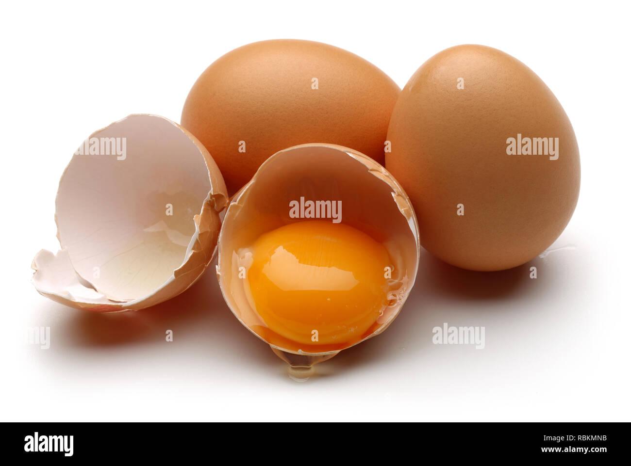 Broken Egg Isolated On White Background Stock Photo
