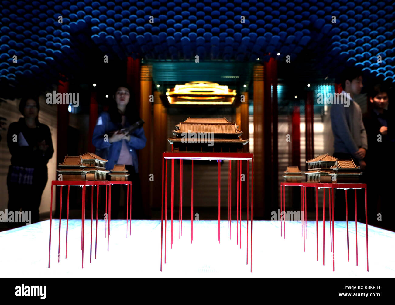 "Beijing, China. 10th Jan, 2019. Reporters visit the exhibition ""Traversing the Forbidden City"" during its preview in Hong Kong, south China, Jan. 10, 2019. Credit: Wu Xiaochu/Xinhua/Alamy Live News Stock Photo"