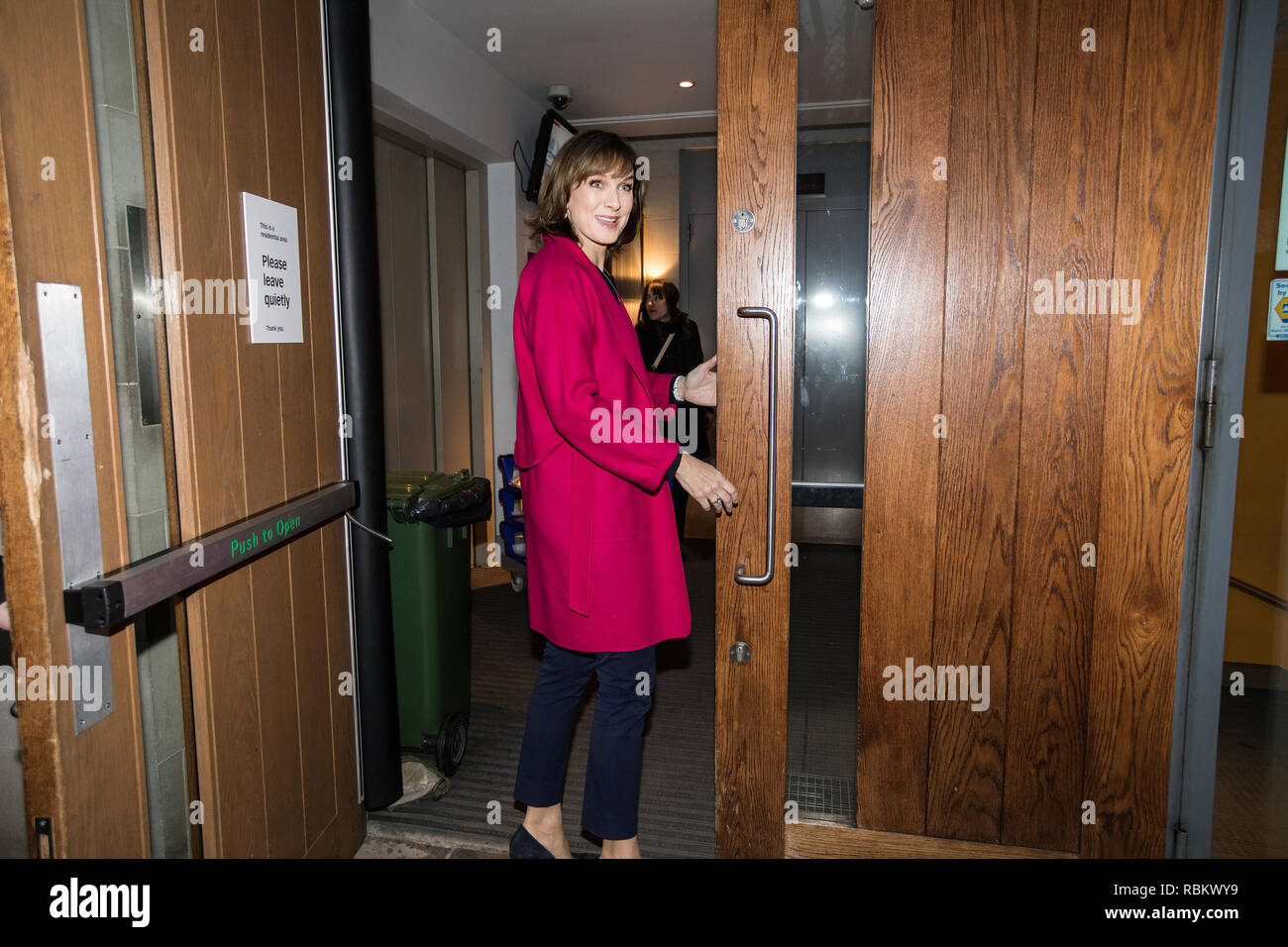 Saint Lukes Church, Old Street, London, UK. 10th Jan, 2019. Fiona Bruce arrives at the venue to present her first recording of Question Time. Fiona Bruce became the first female to present the show replacing David Dimbleby after the broadcaster stepped down from the debate show after 25 years., England, UK Credit: Jeff Gilbert/Alamy Live News - Stock Image