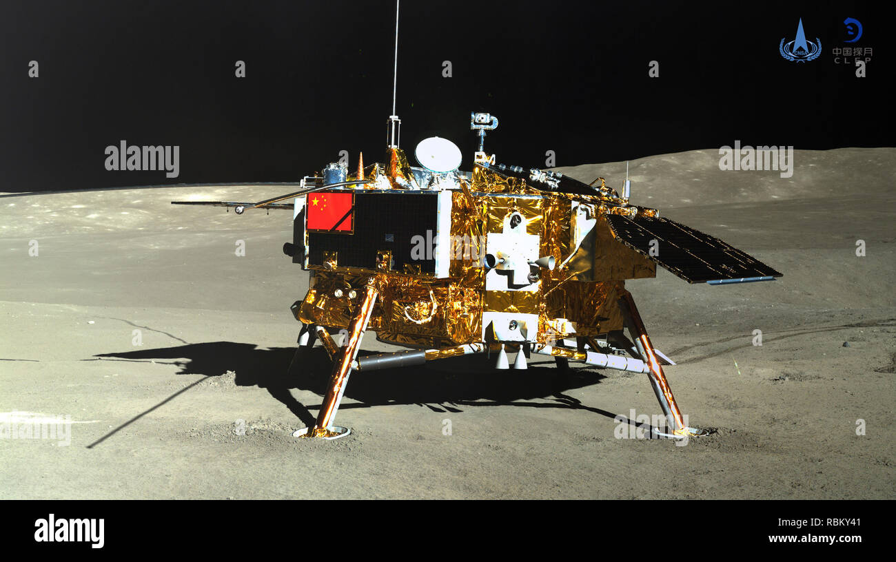 Beijing, China. 11th Jan, 2019. Photo taken by the rover Yutu-2 (Jade Rabbit-2) on Jan. 11, 2019 shows the lander of the Chang'e-4 probe. China announced Friday that the Chang'e-4 mission, which realized the first-ever soft-landing on the far side of the moon, was a complete success. With the assistance of the relay satellite Queqiao (Magpie Bridge), the rover Yutu-2 (Jade Rabbit-2) and the lander of the Chang'e-4 probe took photos of each other. Credit: China National Space Administration/Xinhua/Alamy Live News - Stock Image