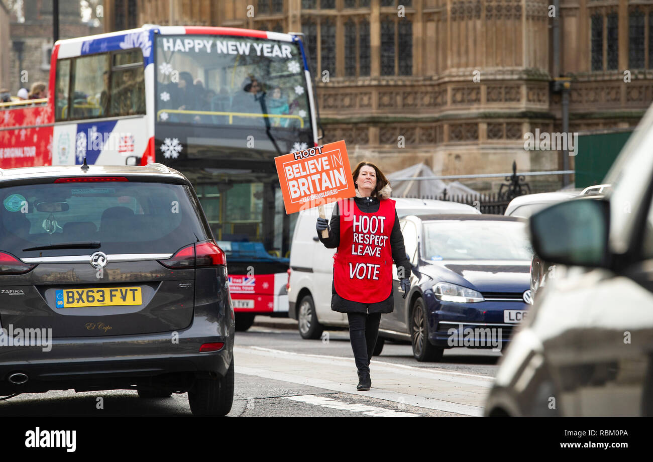 London, UK. 11th Jan, 2019. A Pro Brexit and Leave Now campaigner outside the Houses of Parliament in London today as the debate continues on Prime Minister Theresa May's deal which is to be voted on next week . Credit: Simon Dack/Alamy Live News - Stock Image