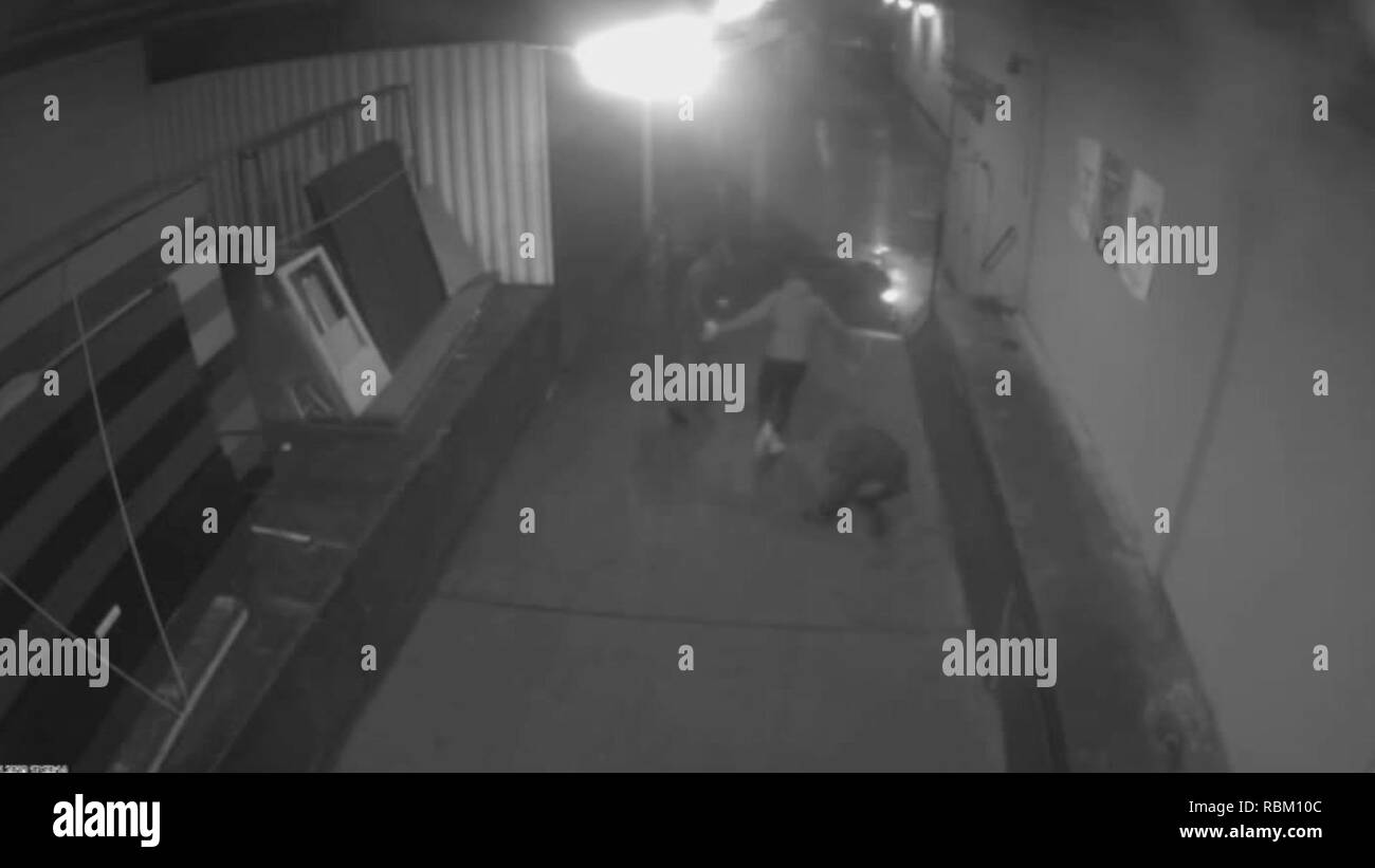 Bremen, Germany. 07th Jan, 2019. The screenshot of a surveillance camera published by the Bremen police shows the attack against the Bremen AfD boss Frank Magnitz. Police and public prosecutors have put the video on the Internet as part of their public search for the perpetrators. The politician had been attacked by unknown on 07.01.2019. Credit: -/Polizei Bremen/dpa - ATTENTION: Use only until the end of the police public investigation/dpa/Alamy Live News - Stock Image
