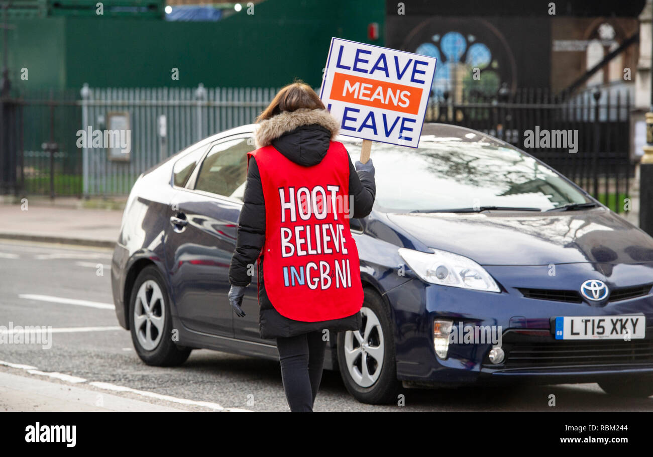 London, UK. 11th Jan, 2019. Pro Brexit Leave Means Leave campaigner outside the Houses of Parliament in London today as the debate continues on Prime Minister Theresa May's deal which is to be voted on next week . Credit: Simon Dack/Alamy Live News - Stock Image