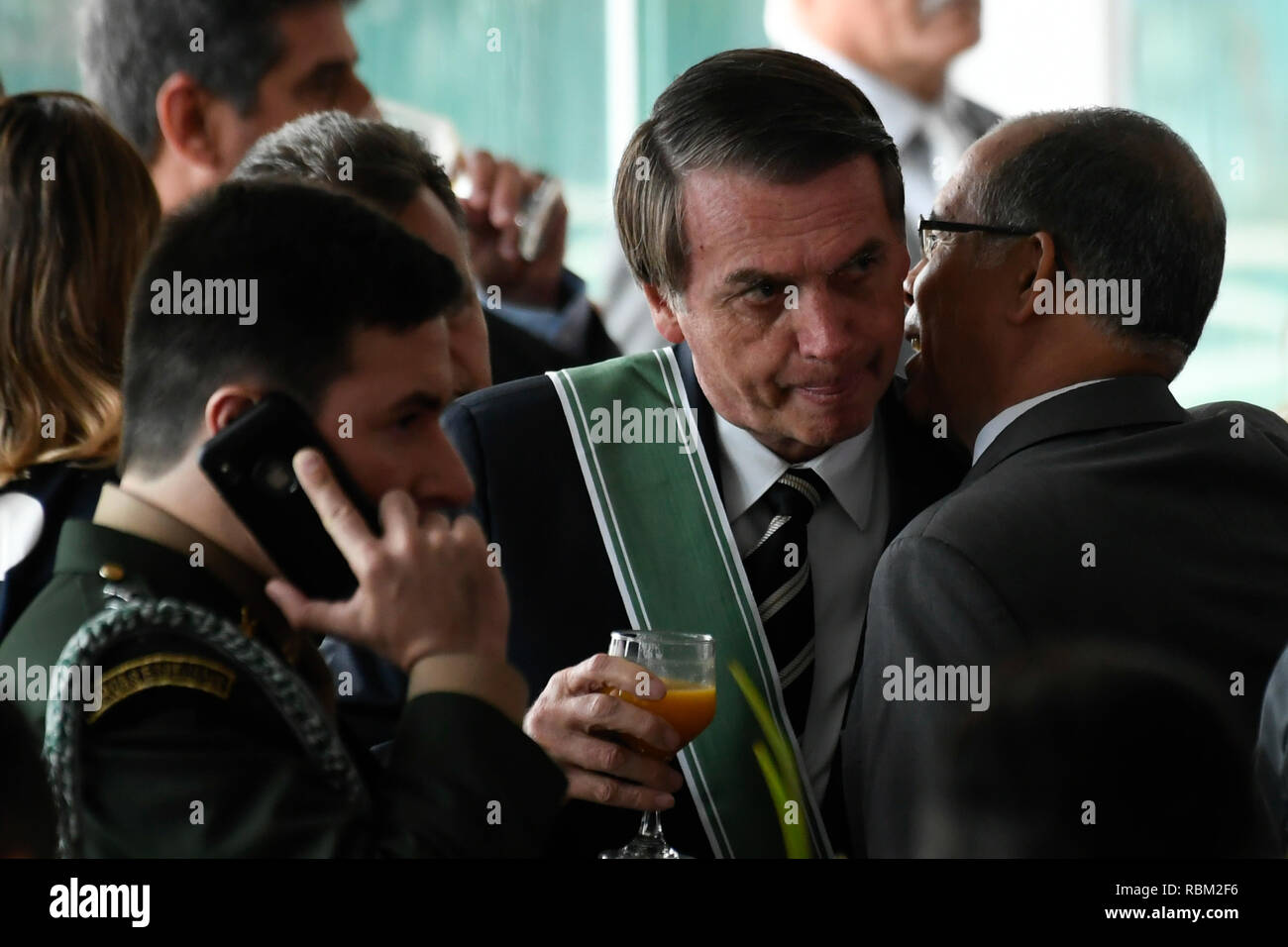 DF - Brasilia - 10/01/2019 - Possession of the commander-in-chief of the Army - Jair Bolsonaro, president of the republic, this Friday, January 11, during a solemnity of passage of the general command of the Army Eduardo Dias da Costa Army Boas General of Army Edson Leal Pujol in a ceremony held at the Army Club. Photo: Mateus Bonomi / AGIF - Stock Image