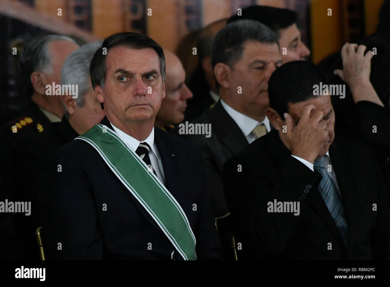DF - Brasilia - 10/01/2019 - Possession of the Army General Commander - Jair Bolsonaro, President of the Republic, accompanied by General Hamilton Mourao, Vice President of the Republic, on Friday, January 11, during a solemnity of Army of the General Eduardo Dias da Costa Army Villas Boas to Army General Edson Leal Pujol in a ceremony held in the Club of the Army. Photo: Mateus Bonomi / AGIF - Stock Image