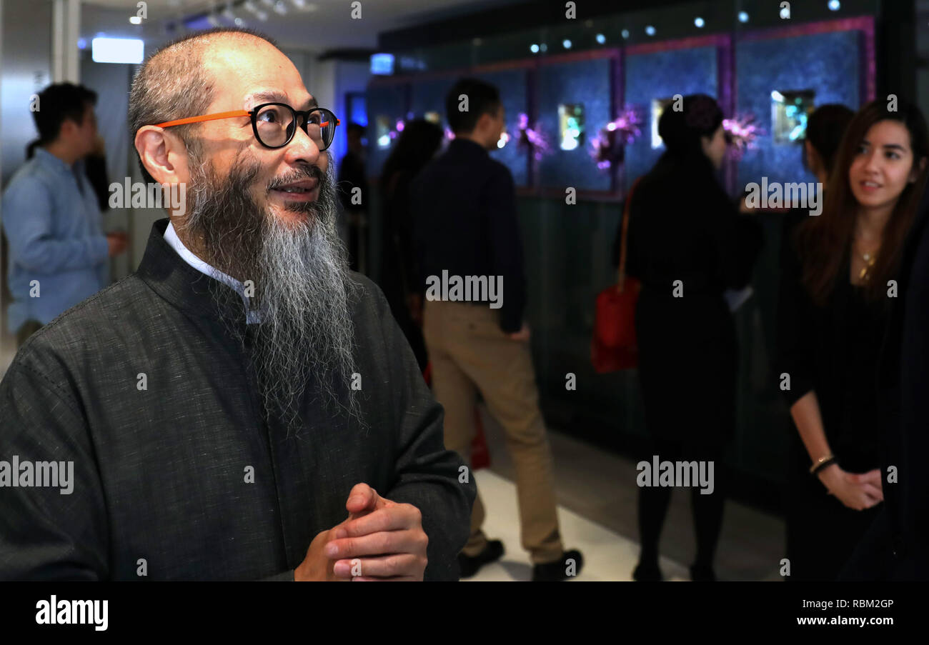 Hong Kong, China. 11th Jan, 2019. Wallce Chan is seen on an exhibition named 'Shape-Shifter: the Multiverse of Wallce Chan' at Christie's Gallery in Hong Kong, south China, Jan. 11, 2019. Credit: Wu Xiaochu/Xinhua/Alamy Live News - Stock Image