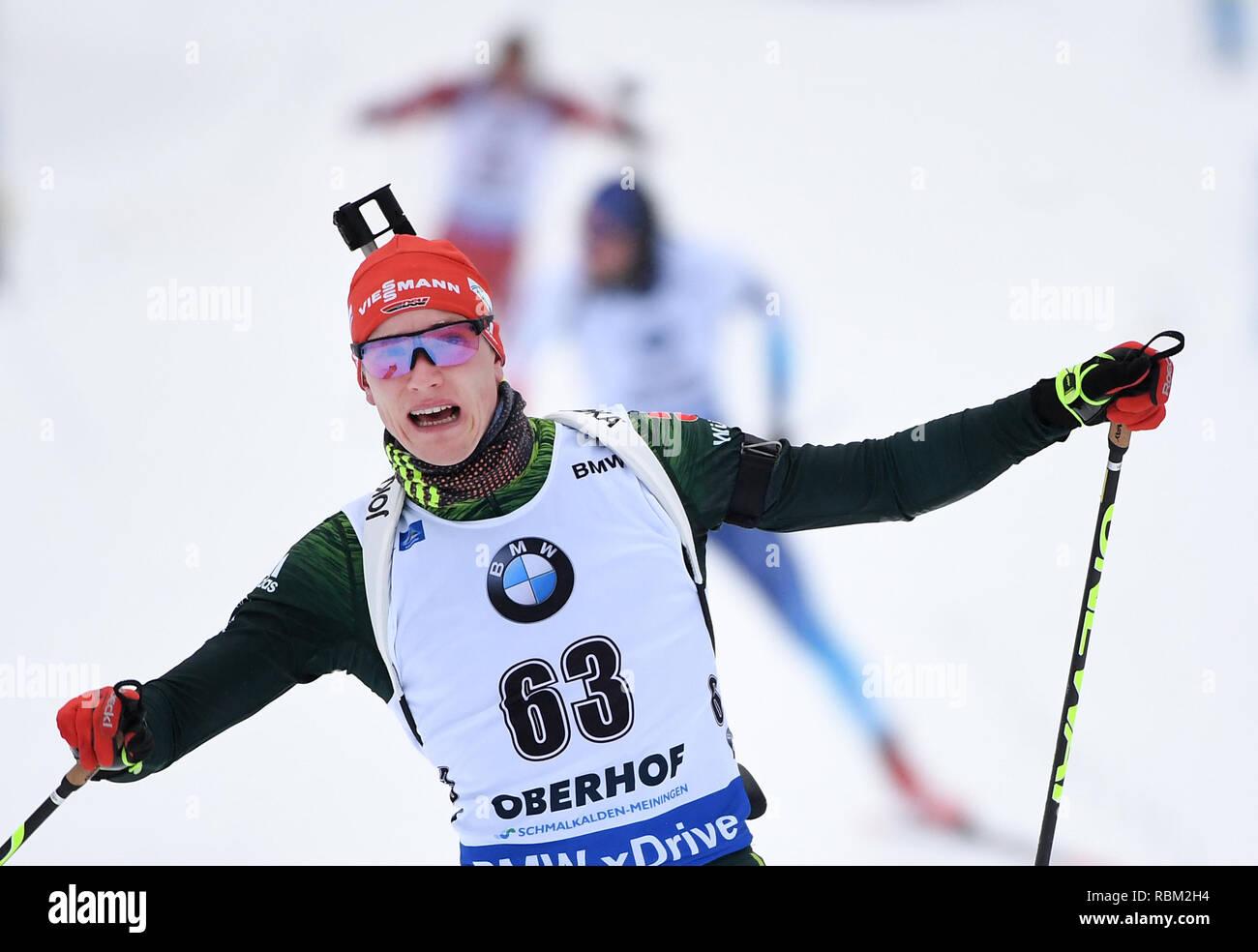 Oberhof, Germany. 11th Jan, 2019. Biathlon, World Cup, Sprint 10 km, Men: Benedikt Doll from Germany on the finish line. He'll be fourth. Credit: Hendrik Schmidt/dpa-Zentralbild/dpa/Alamy Live News Stock Photo