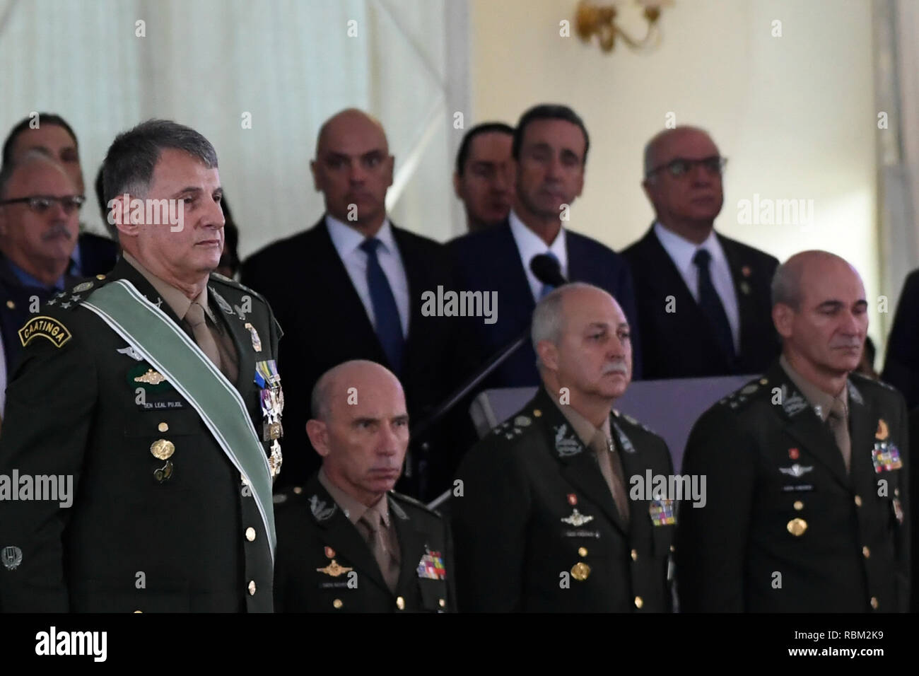 DF - Brasilia - 10/01/2019 - Possession of the General Commander of the Army - General Edson Leal Pujol this Friday, January 11, during the solemnity of passage of the general command of the army of General Eduardo Dias da Costa Army Villas Boa to the General de Army Edson Leal Pujol in a ceremony held at the Clube do Exercito. Photo: Mateus Bonomi / AGIF - Stock Image