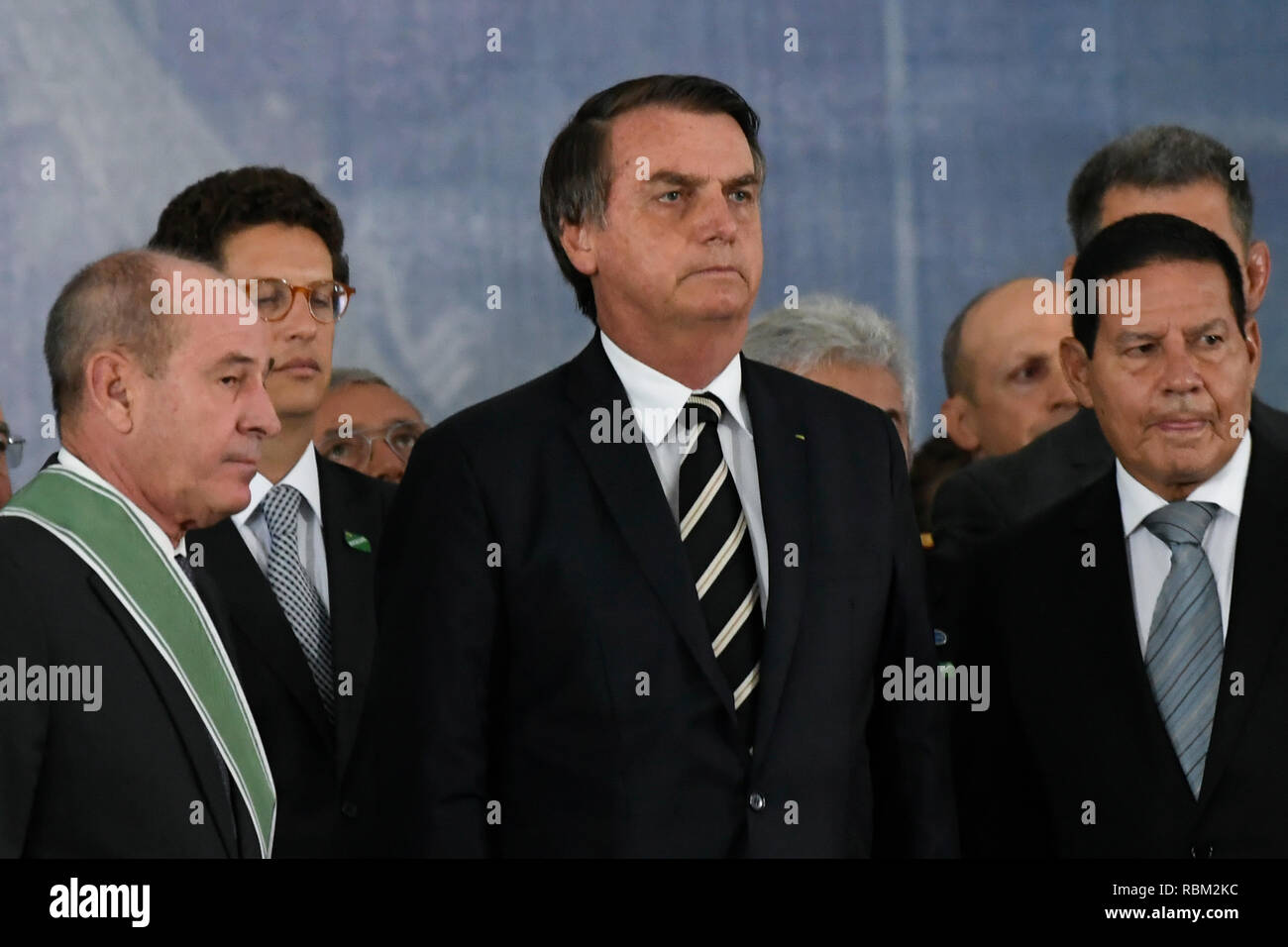 DF - Brasilia - 10/01/2019 - Possession of the commander-in-chief of the Army - Jair Bolsonaro, president of the republic, accompanied by Fernando Azevedo e Silva, defense minister, and Hamilton Mourao, vice president of the republic, this Friday, January 11 , during solemnity of passage of the general command of the army of the Army General Eduardo Dias da Costa Villas Boas to Army General Edson Leal Pujol in a ceremony held in the Club of the Army. Photo: Mateus Bonomi / AGIF - Stock Image
