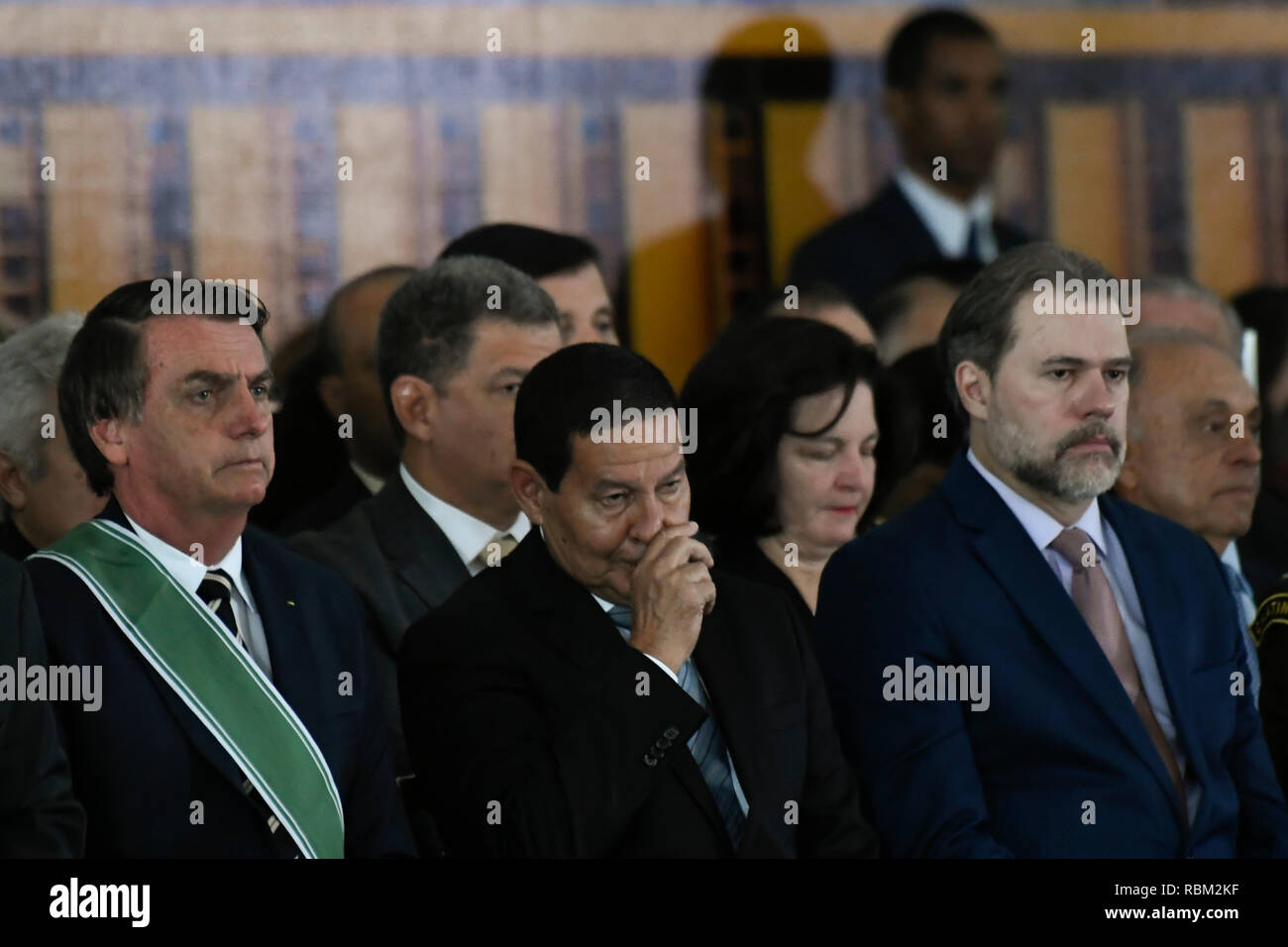 The President of the Republic, Jair Bolsonaro, President of the Republic, accompanied by General Hamilton Mourao, Vice President of the Republic, and Dias Toffoli, President of the STF, on Friday, January 11, during solemnity of passage of the general command of the army of the Army General Eduardo Dias da Costa Villas Boas to the Army General Edson Leal Pujol in a ceremony held in the Club of the Army. Photo: Mateus Bonomi / AGIF - Stock Image