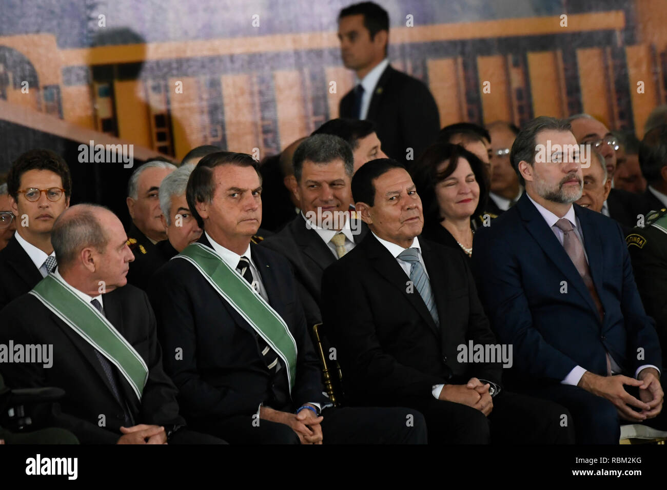 DF - Brasilia - 10/01/2019 - Possession of the Army General Commander - Jair Bolsonaro, President of the Republic, accompanied by General Eduardo Dias da Costa Villas Boas, Fernando Azevedo e Silva, Minister of Defense, and Hamilton Mourao, Vice President of republica, this Friday, January 11, during a solemnity of passage from the general command of the army of General Eduardo Dias da Costa Army Villas Boas to Army General Edson Leal Pujol in a ceremony held in the Club of the Army. Photo: Mateus Bonomi / AGIF - Stock Image