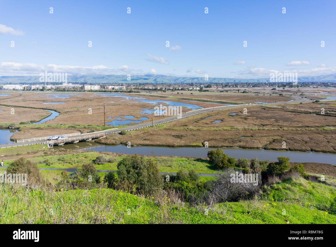 Wetlands in Don Edwards wildlife refuge, Fremont, San Francisco bay area, California Stock Photo