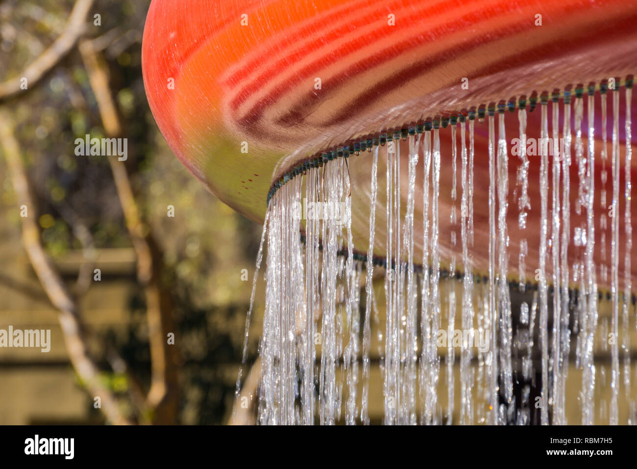 Detail of a water curtain, California - Stock Image