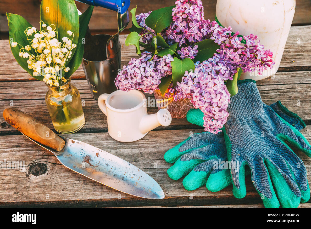 Gardening tools, watering can, shovel, spade, pruner, rake, glove, lilac flowers on wooden table in barn. Spring or summer in garden. Eco nature horti - Stock Image