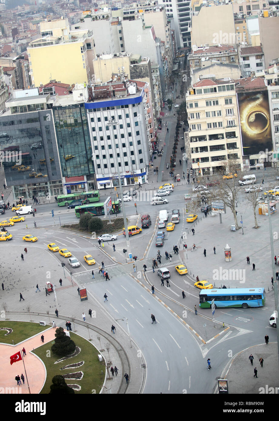Taksim Square panoramic view and Republic Monument in Istanbul, Turkey. - Stock Image