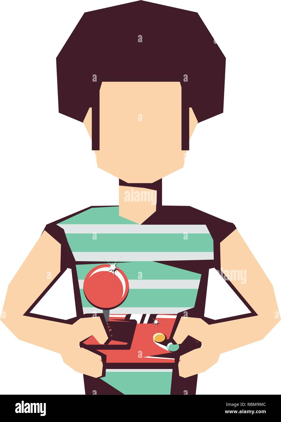 man player video game with joystick vector illustration design - Stock Image