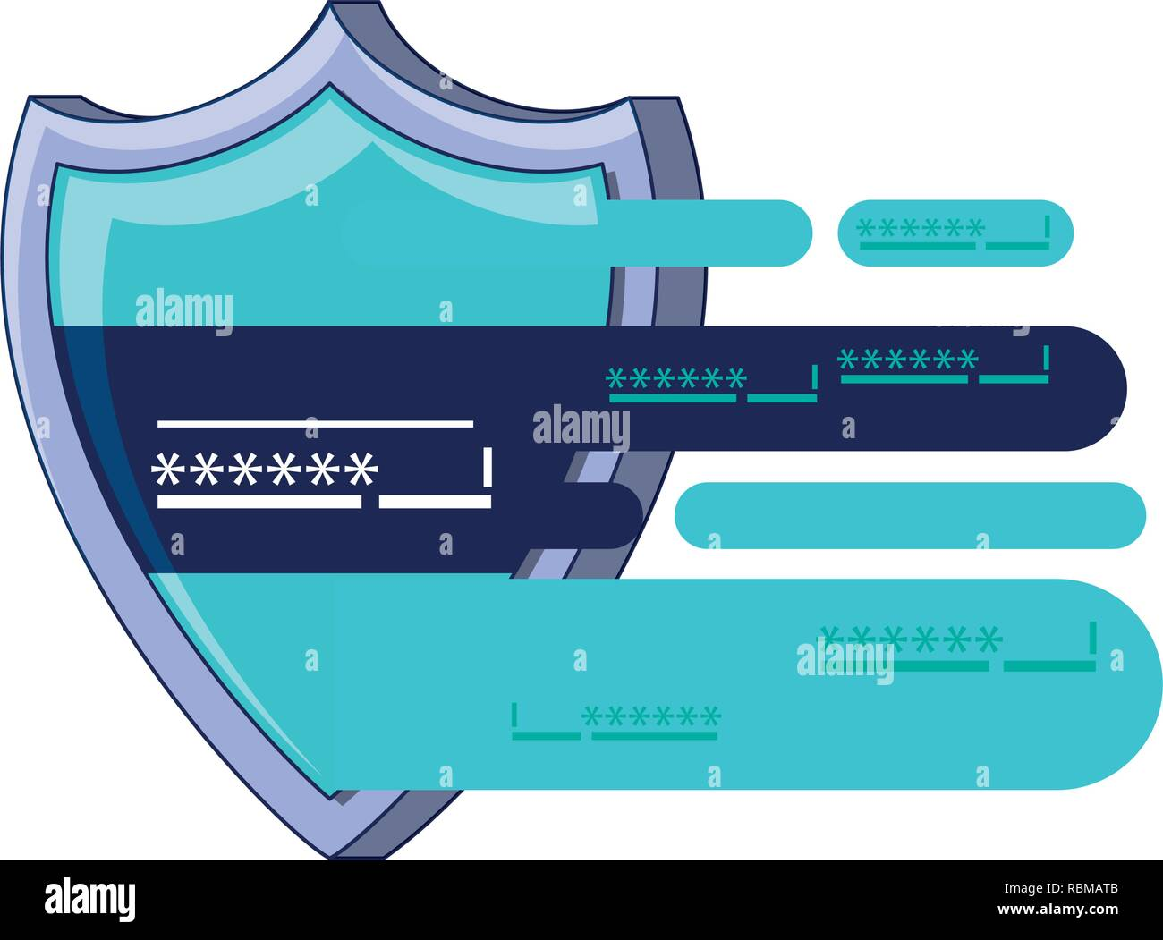 shield secure with password vector illustration design - Stock Vector