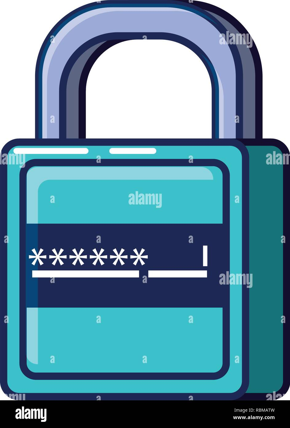 safe secure padlock with password vector illustration design - Stock Image