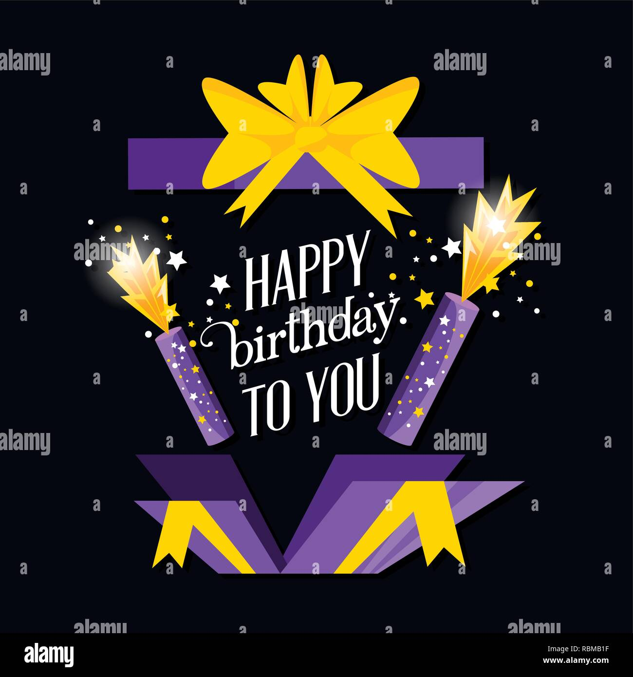 birthday explosive gift with candles vector illustration design - Stock Image