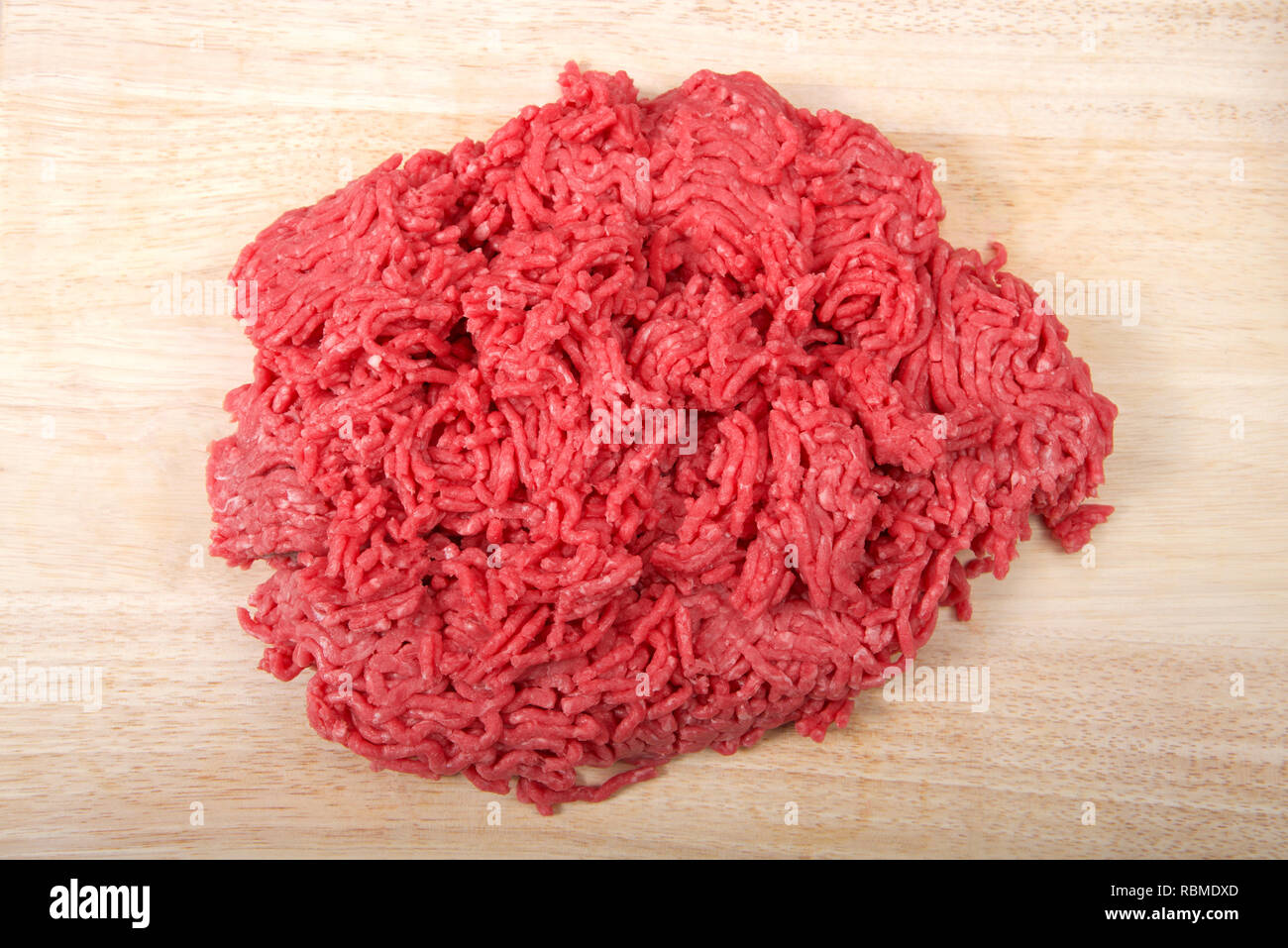 Close Up Of Raw Ground Hamburger Meat Low Fat On A Light Wood