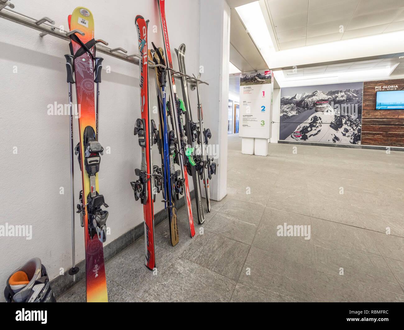 Ski station in Murren village, Switzerland - Stock Image