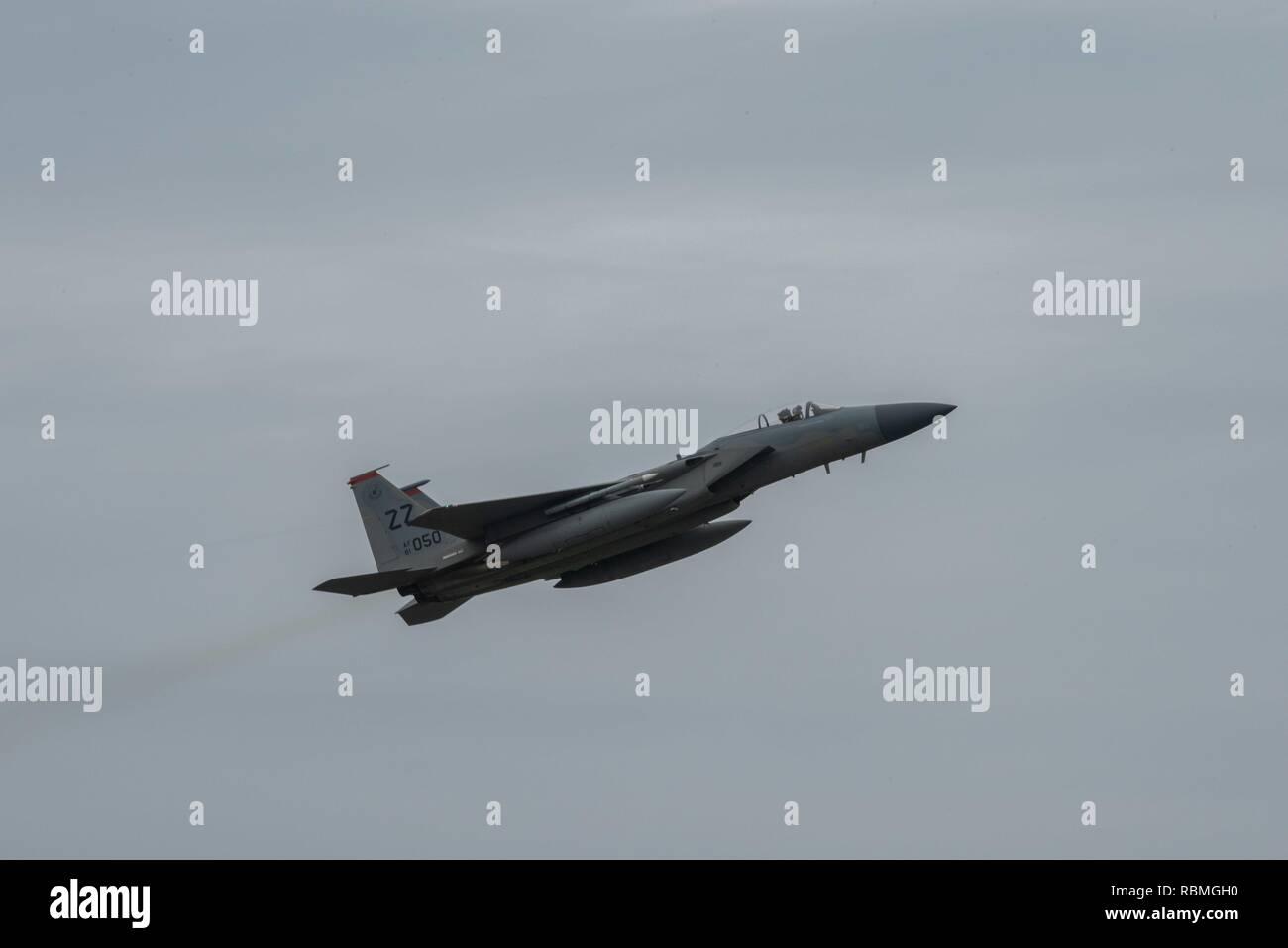 A U S  Air Force F-15 Eagle takes off on the flightline, Jan  9