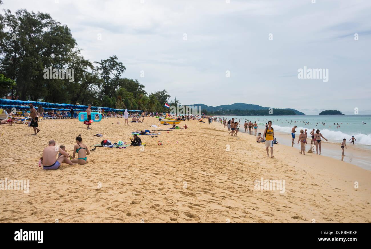 Karon beach in Phuket Thailand. Day 18 December 2018 - Stock Image