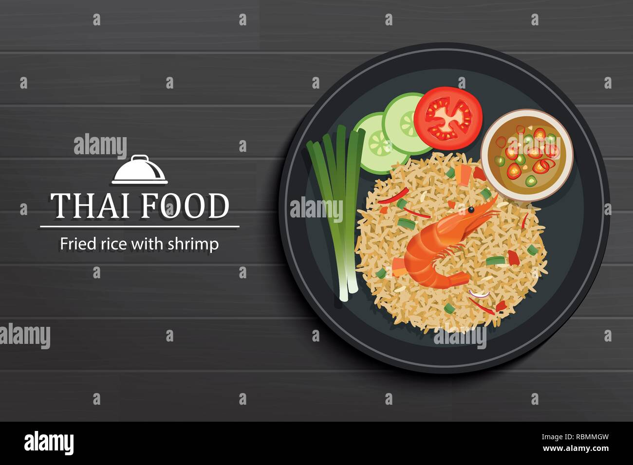 Thai food in the dish on black wooden table top view. Fried rice with shrimp. - Stock Vector