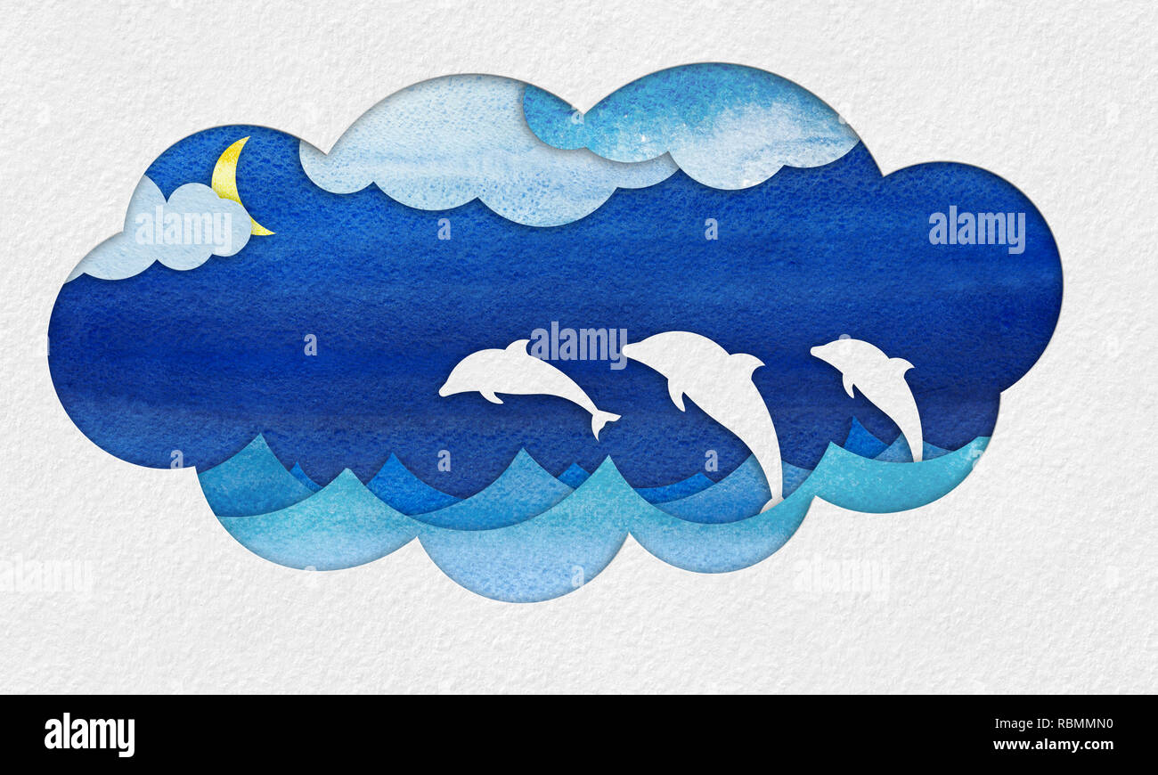 Abstract hand drawn illustration. seascape cutout applique from