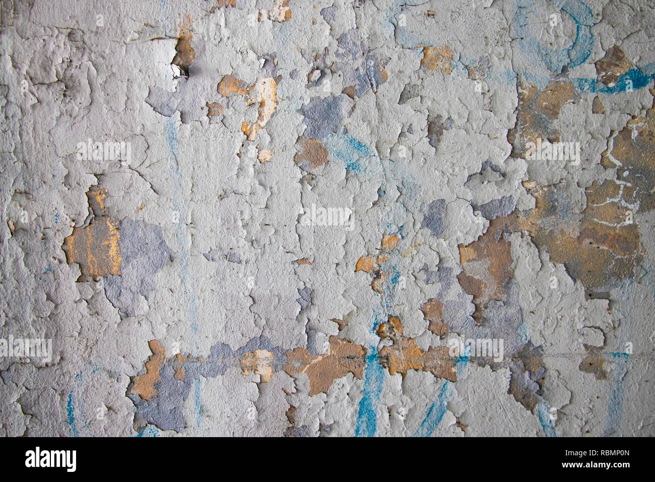 Decrepit White Dirty Plaster Wall With Cracked Structure Horizontal Empty Grunge Background. Old Gray Grey Mortar Wall With Rough Shabby Stucco Layer  - Stock Image