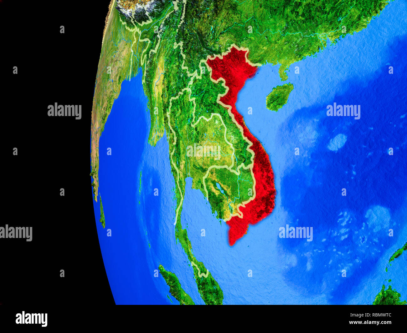 Vietnam from space on realistic model of planet Earth with