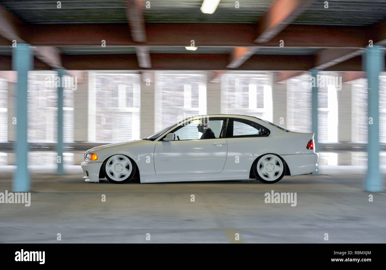 Stanced Bmw E46 3 Series Lowered On Air Bag Suspension And Modified Stock Photo Alamy