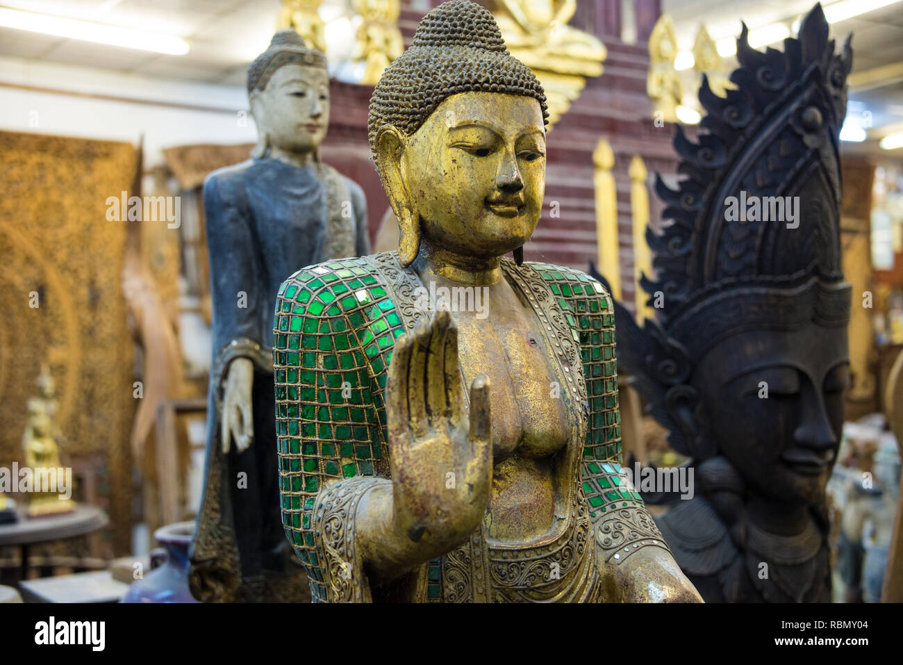 Buddha statue in antique shop in Patong Phuket Thailand. 15 December 2018 - Stock Image