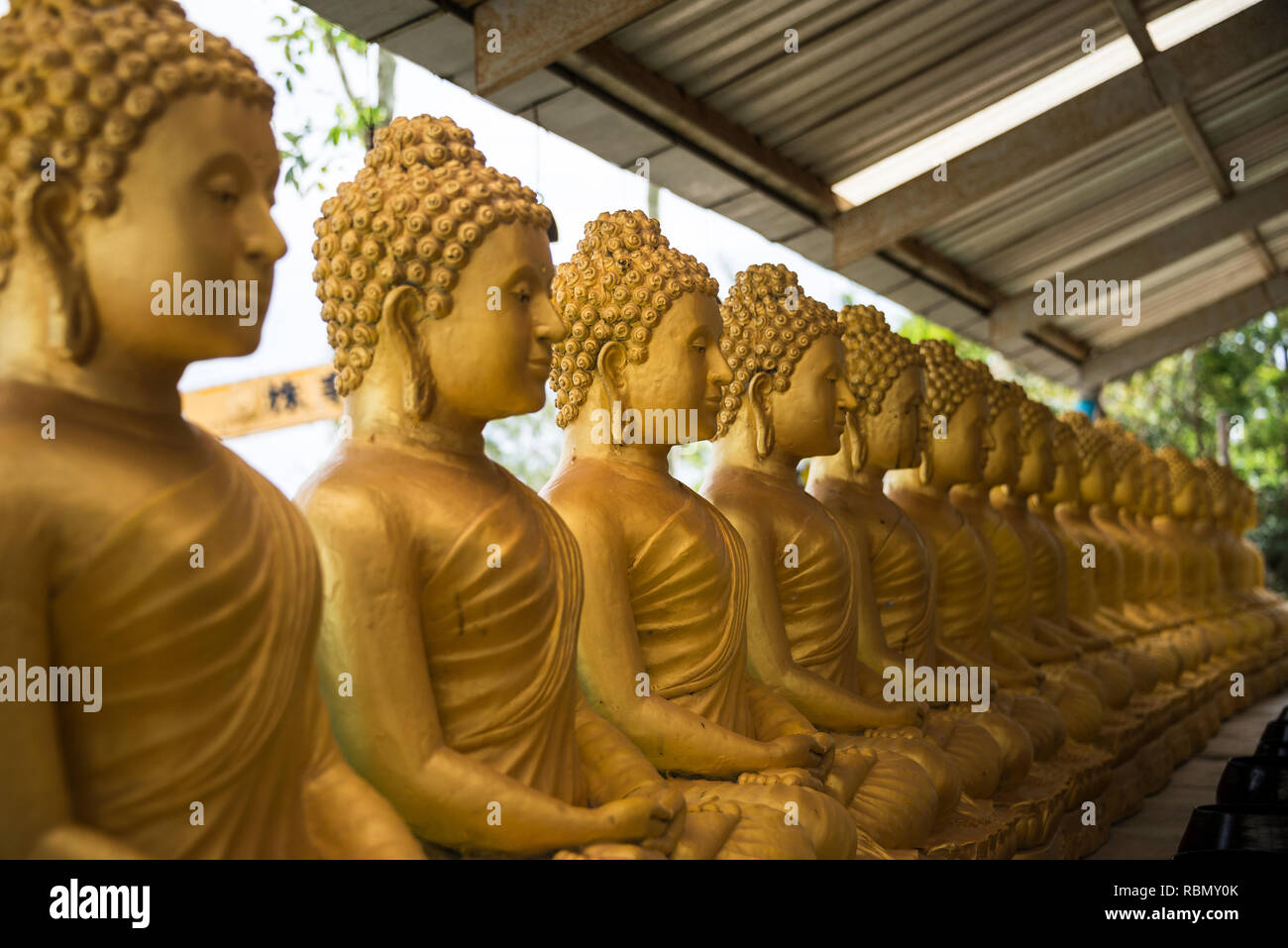 Golden statues on the island of Phuket Thailand. Day 19 December 2018 Stock Photo