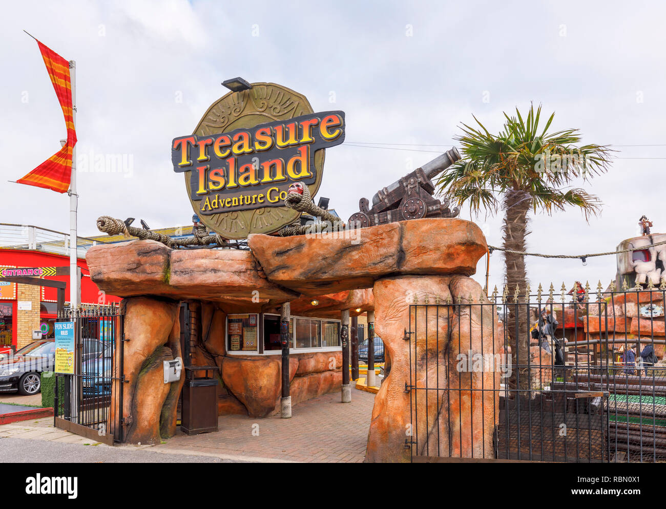Treasure Island Adventure Golf, a mini golf family entertainment on Clarence Esplanade by Clarence Pier on Southsea seafront, Portsmouth, UK Stock Photo