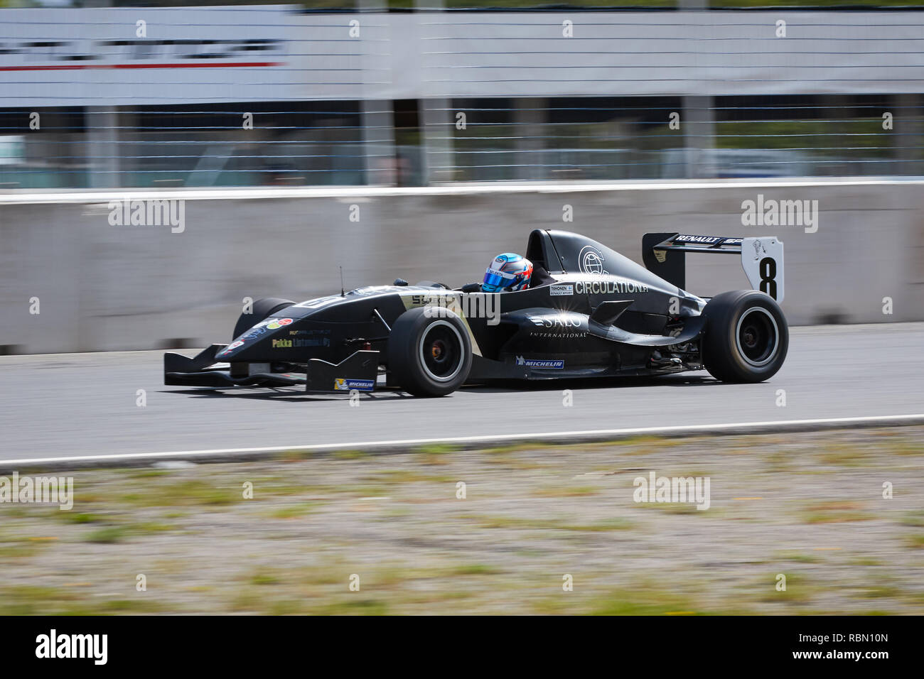 HÄMEENLINNA, FINLAND – APRIL 11 2016: A formula one racecar at high speed on racetrack on open practise day at Ahvenisto Race Circuit in Finland. This - Stock Image