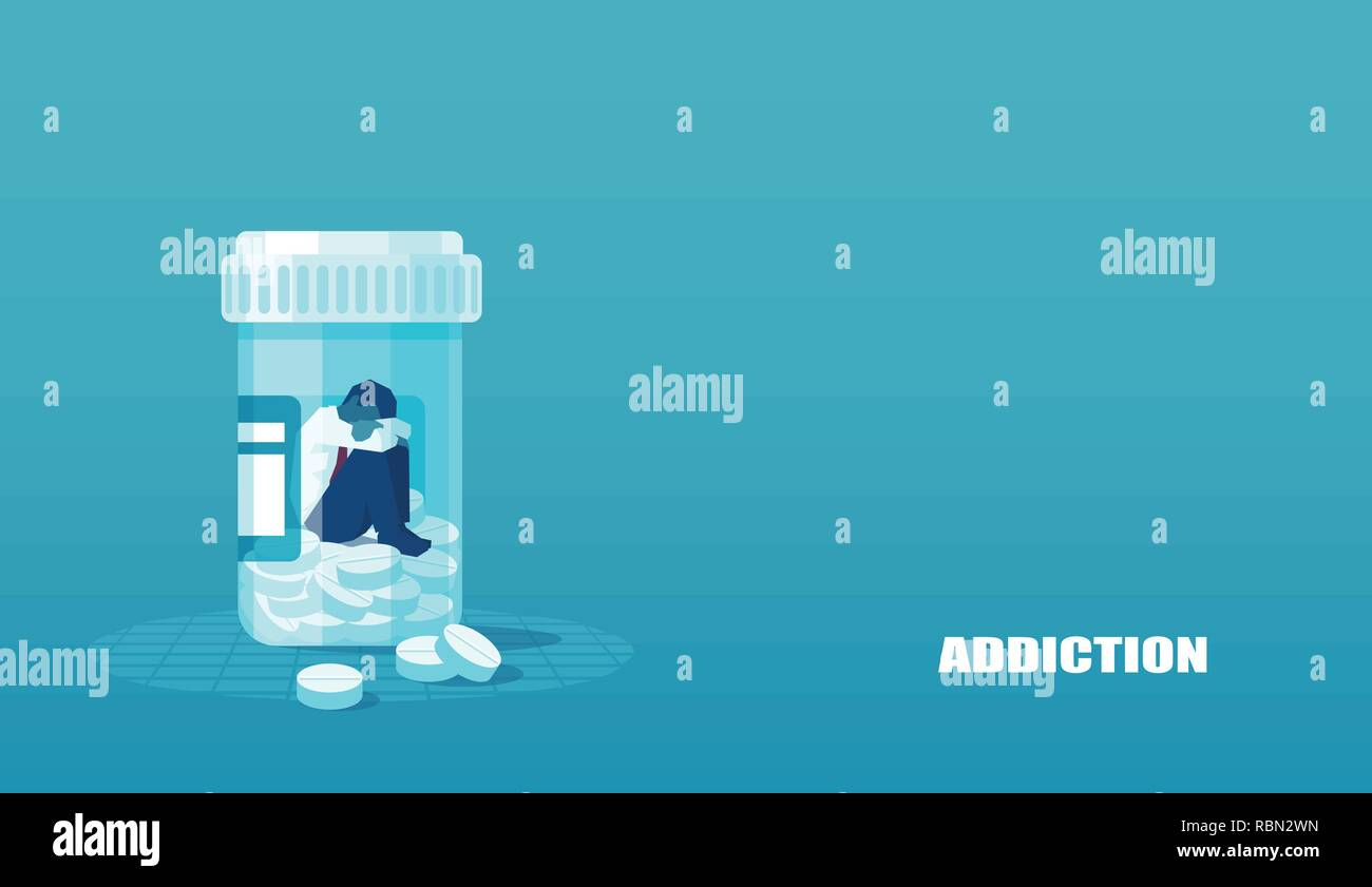 Vector of a sick sad patient man in depression drowning in medications sitting inside a bottle. Concept of drug addiction. - Stock Vector