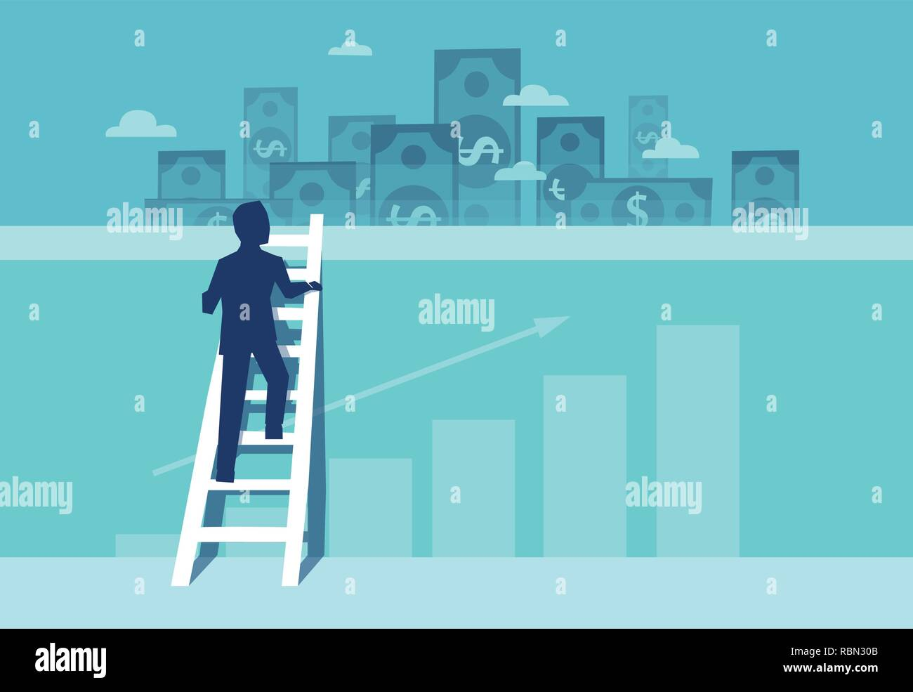 Vector of a challenged businessman climbing up the wall on a ladder to see financial real estate opportunities - Stock Vector
