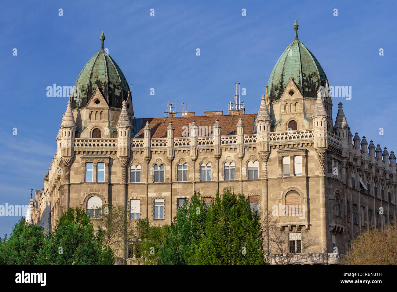 An architecturally beautiful building on the perimeter of Liberty Square, Budapest, Hungary - Stock Image