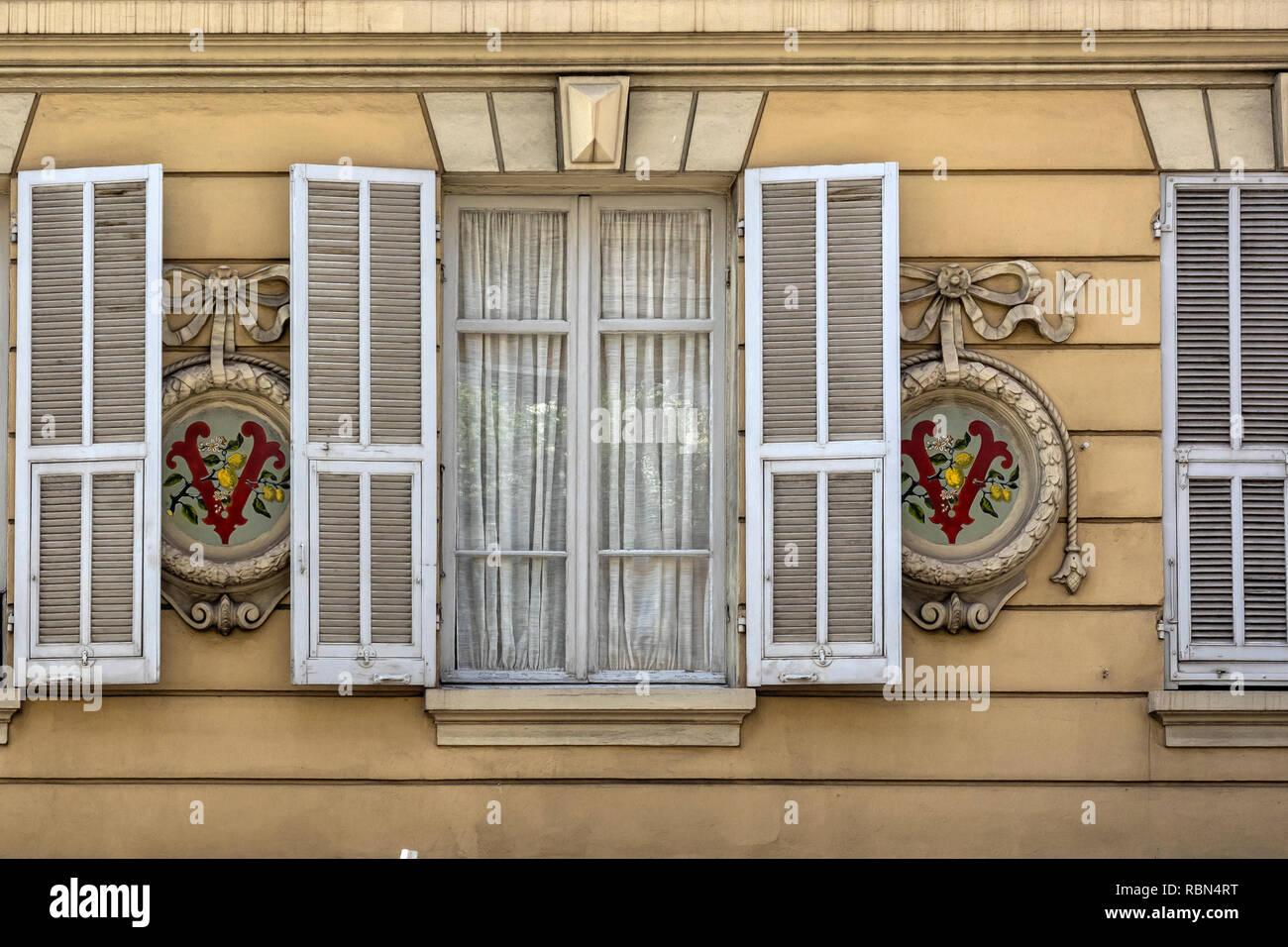 MONTE CARLO, MONACO:  Shuttered Windows on Apartment Building - Stock Image