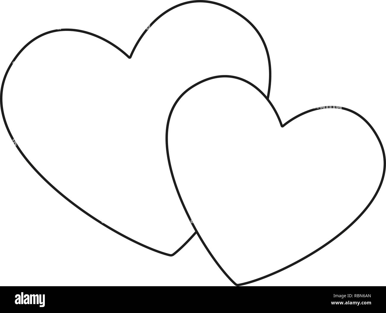 Line art black and white pair of loving hearts - Stock Image