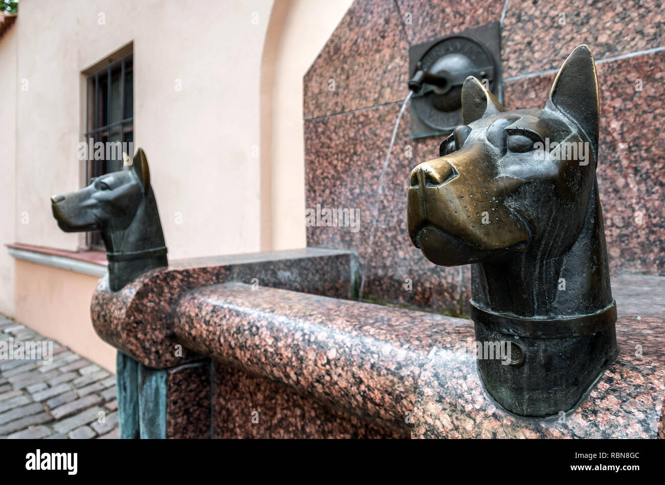 Fountain in Kaunas old town, Lithuania - Stock Image