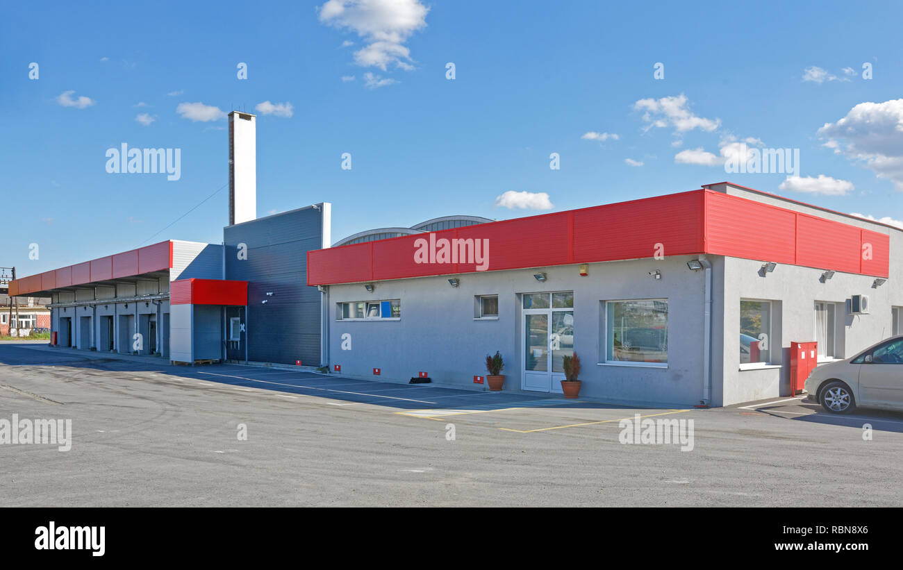 Shipping Distribution Warehouse Building Exterior - Stock Image